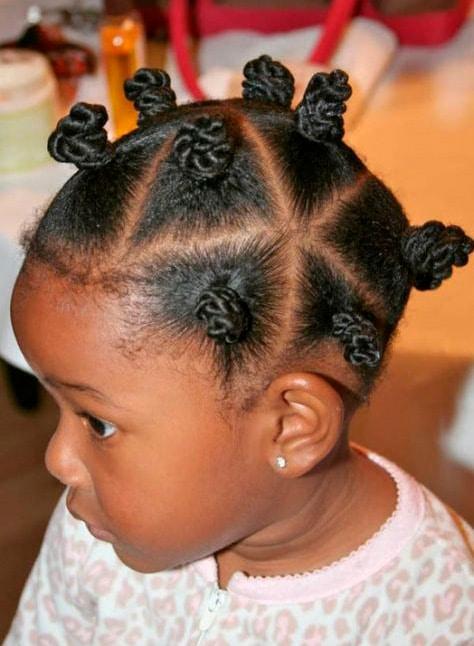 Peinado para niña Mini moños múltiples