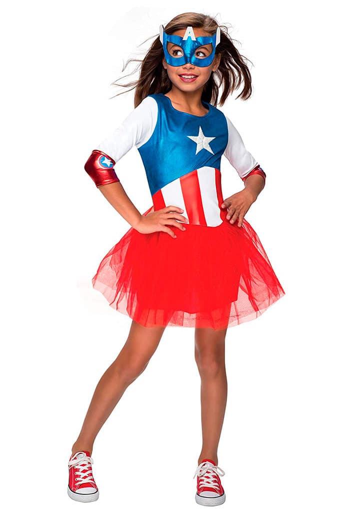 Disfraz de Capitán América para niñas