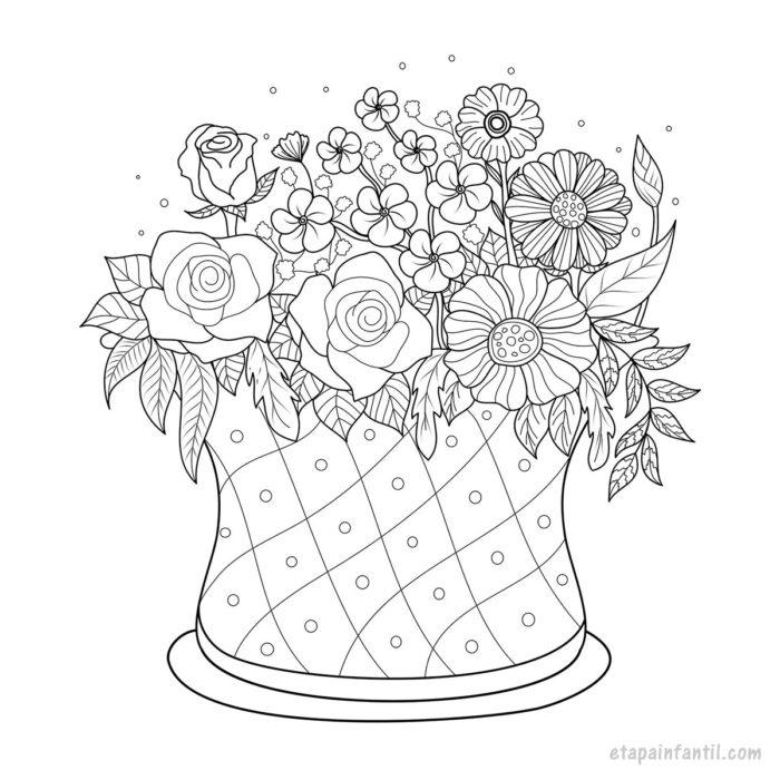 Dibujo de canasta con flores para colorear