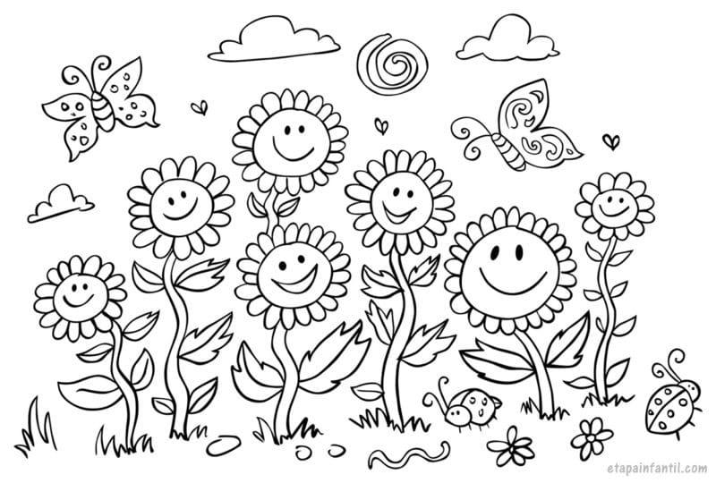 Dibujo de flores del campo para colorear