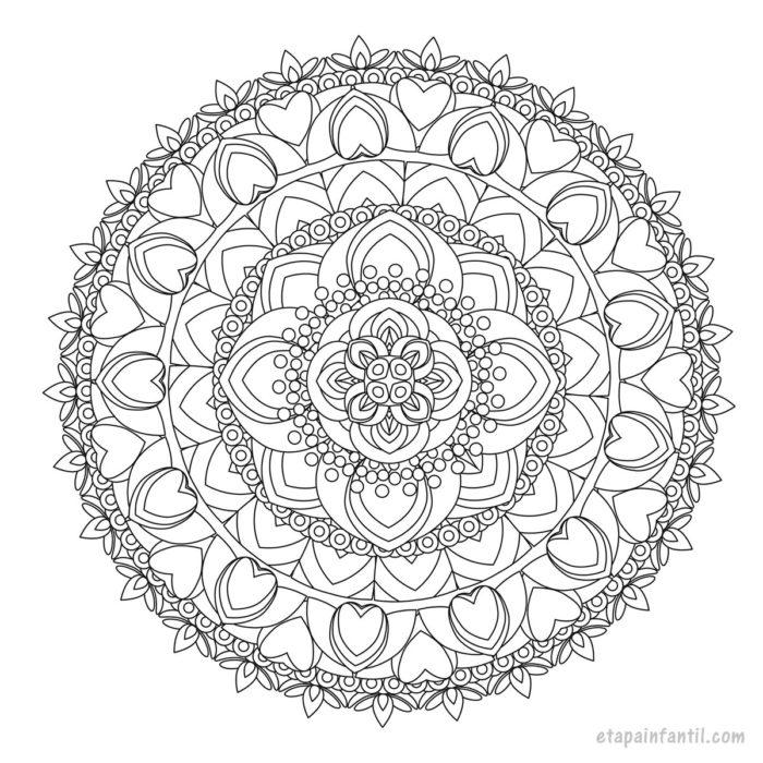 Dibujo de mandala de flores para colorear