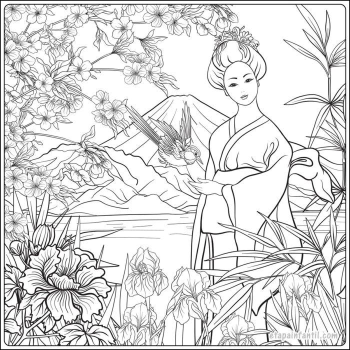 Dibujo de paisaje japonés con flores y mujer japonesa para colorear