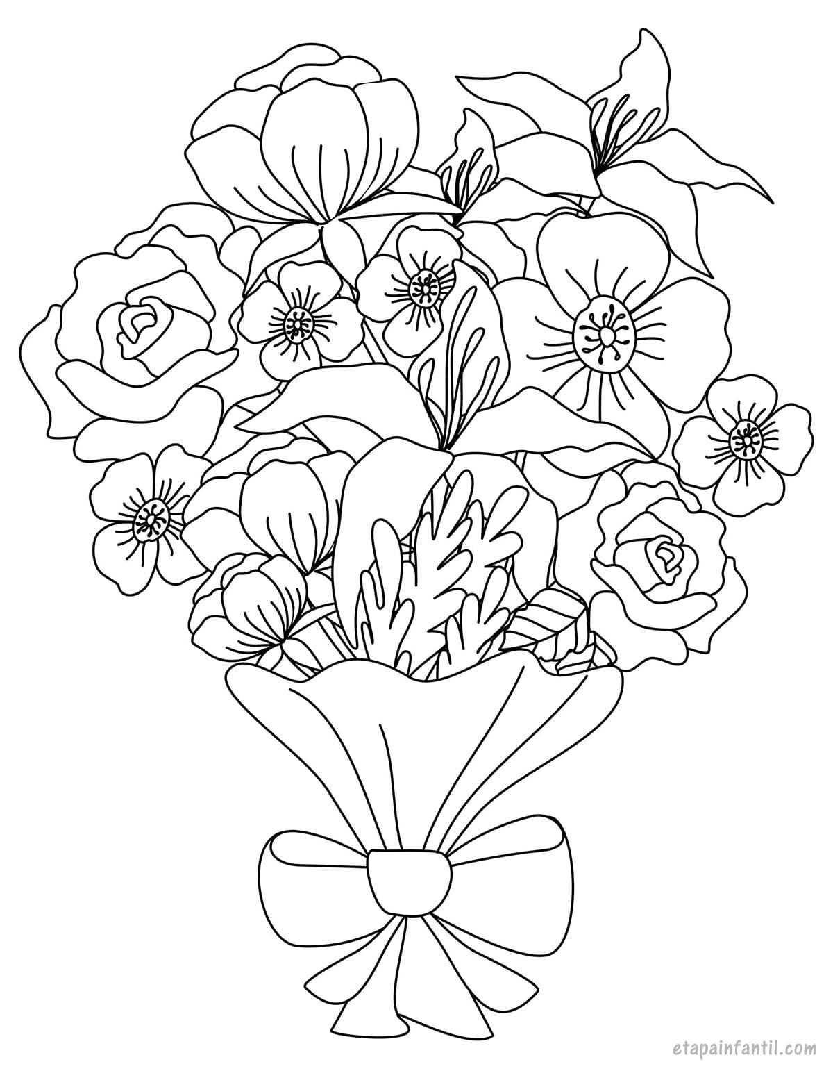 Dibujo de ramo de flores colorear