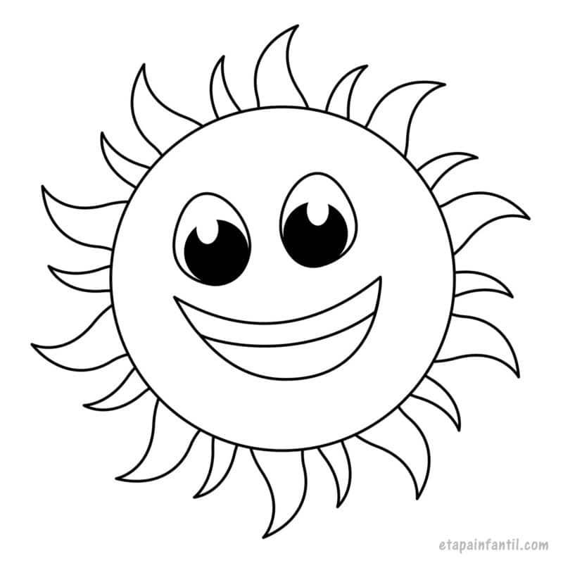 Dibujo de sol primaveral para colorear
