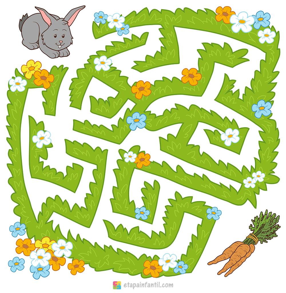 Laberinto para niños para imprimir: Ayuda al conejito a llegar a la zanahoria