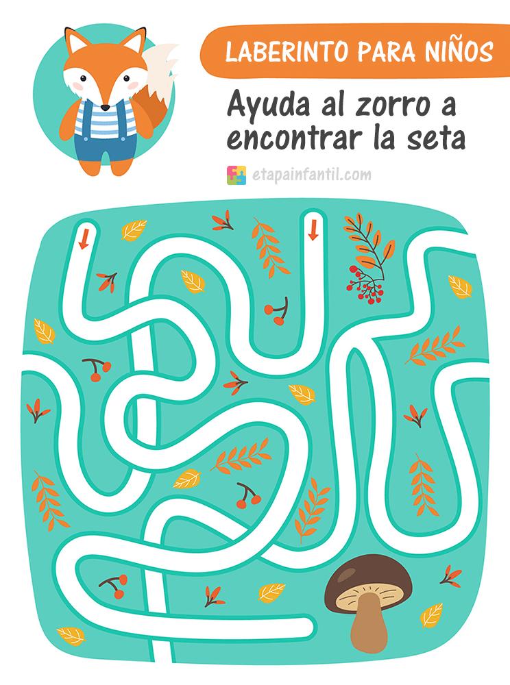 Laberinto para niños para imprimir: Ayuda al zorro a encontrar setas