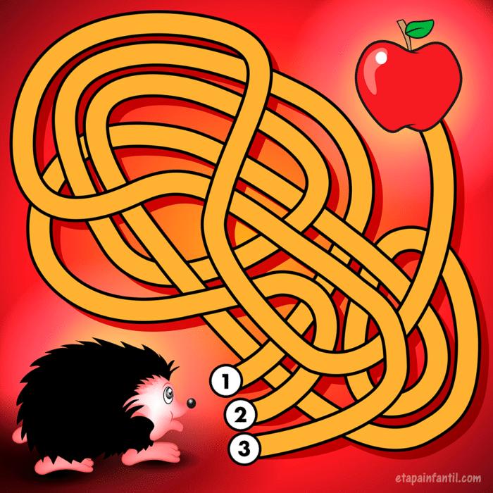 Laberinto para niños Dale de comer al erizo llegando a la manzana