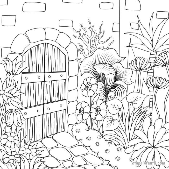 Dibujo de portal y jardín de flores en primavera para colorear