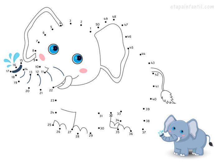 Dibujo de conectar de puntos de elefante