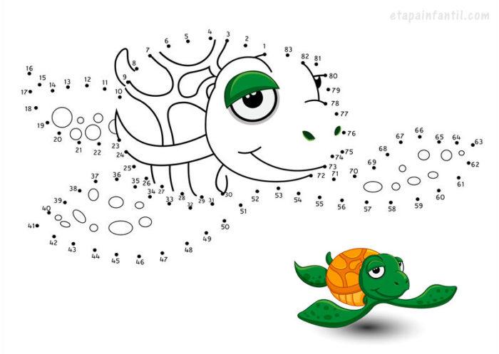 Dibujo de unir puntos de tortuga