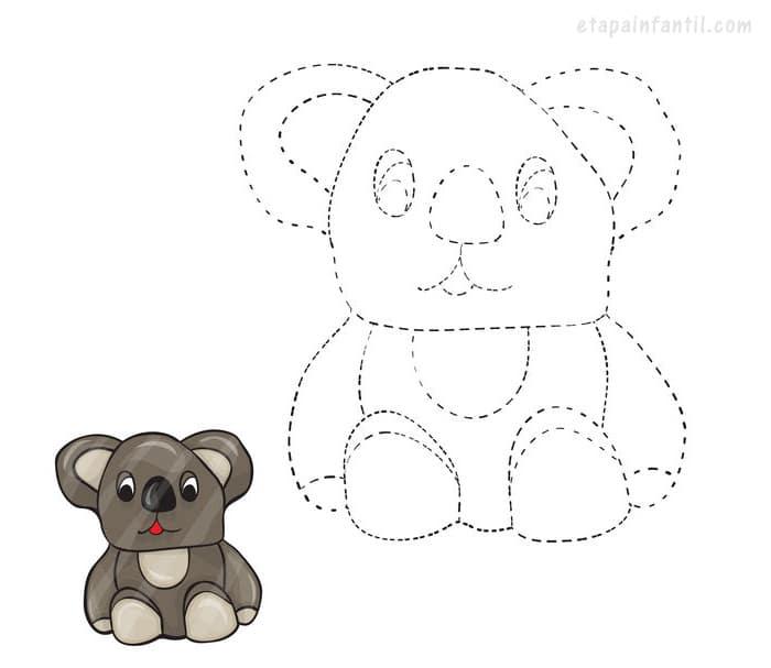 Dibujo de unir puntos de koala