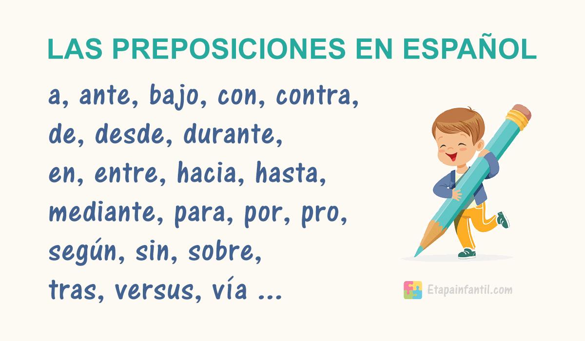 Las preposiciones en español (lista actualizada)