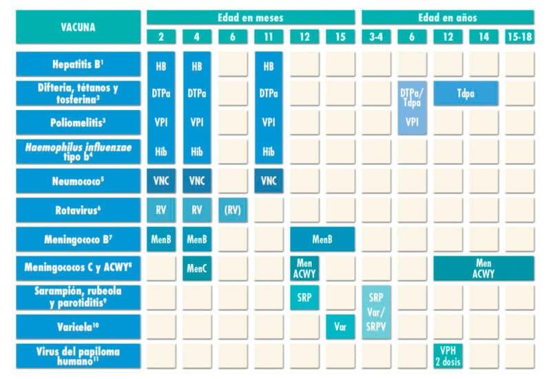 tabla calendario vacunas 2021