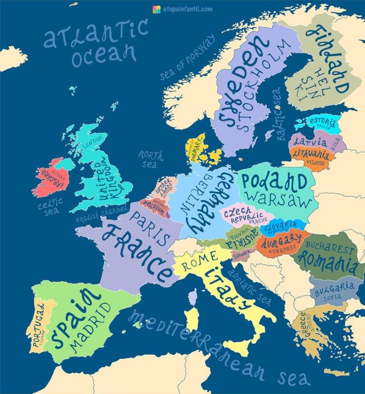 Mapa de la Unión Europea para imprimir