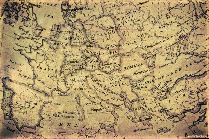 Mapa antiguo de Europa para imprimir