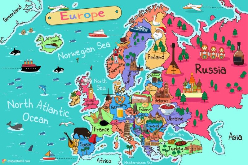 Mapa cultural de Europa para imprimir