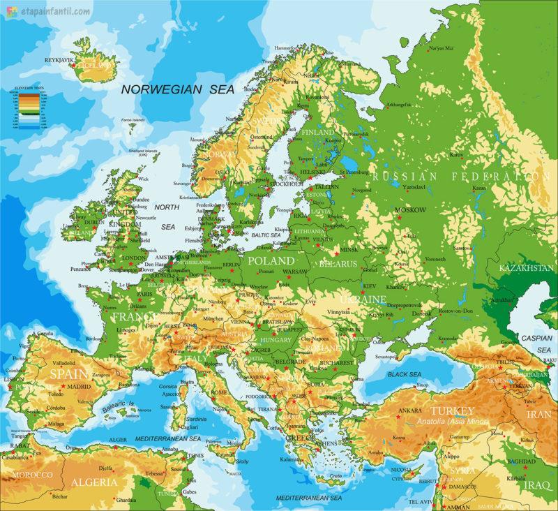 Mapa físico de Europa para imprimir