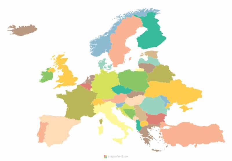 Mapa político mudo de Europa para imprimir
