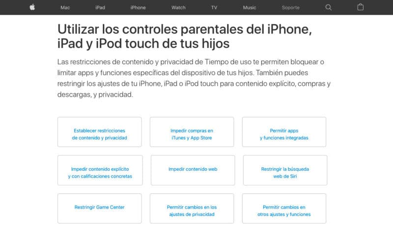 Control parental iOS
