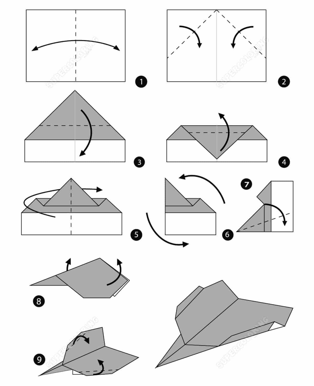 Dibujo avion papel estilo supersonico