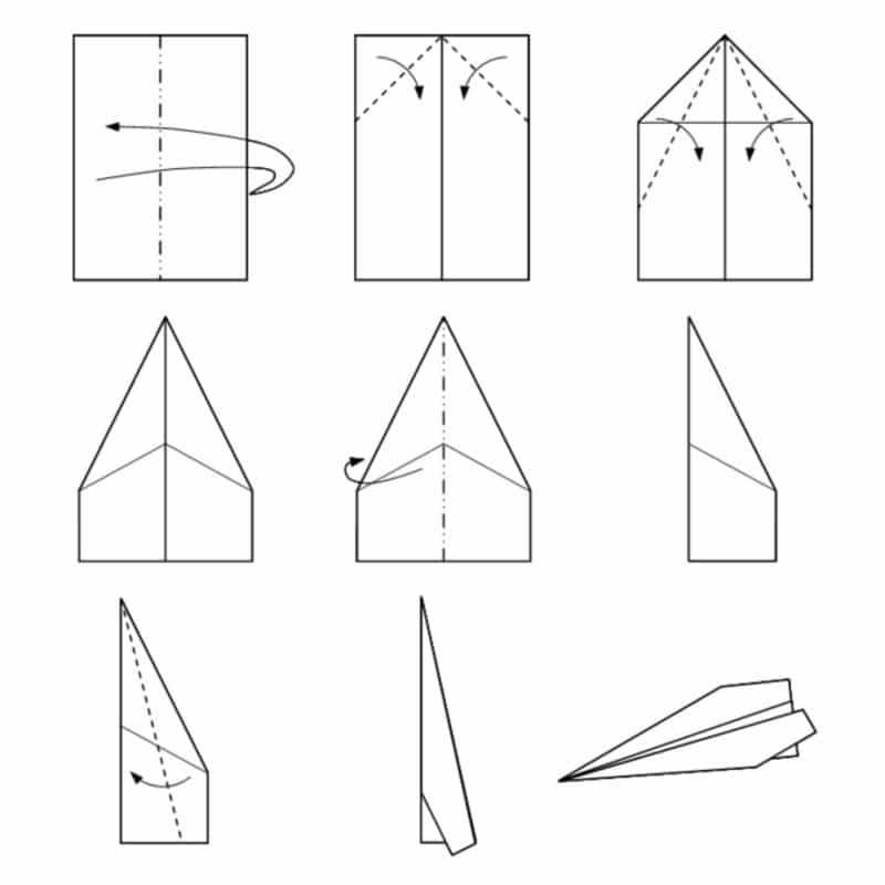 Dibujo avion papel tipo flecha