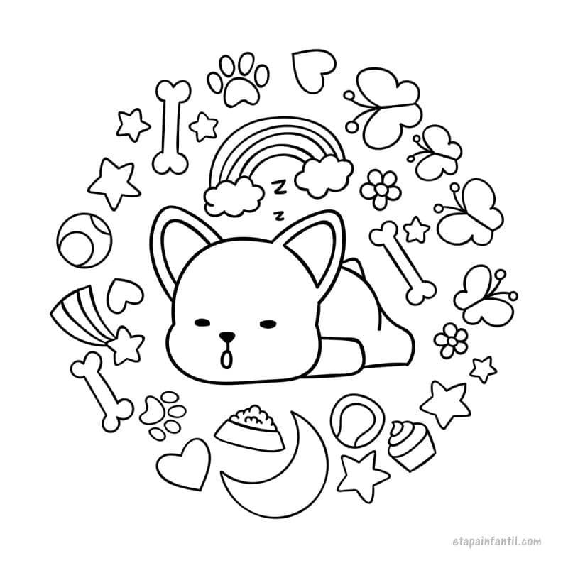 Dibujo kawaii de Cachorrito para colorear