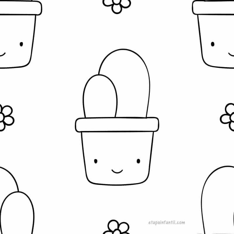 Dibujo kawaii de Cactus para colorear