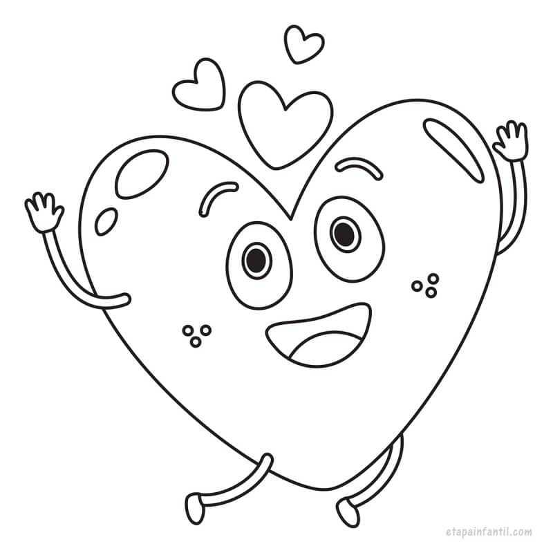 Dibujo kawaii de Corazón feliz para colorear