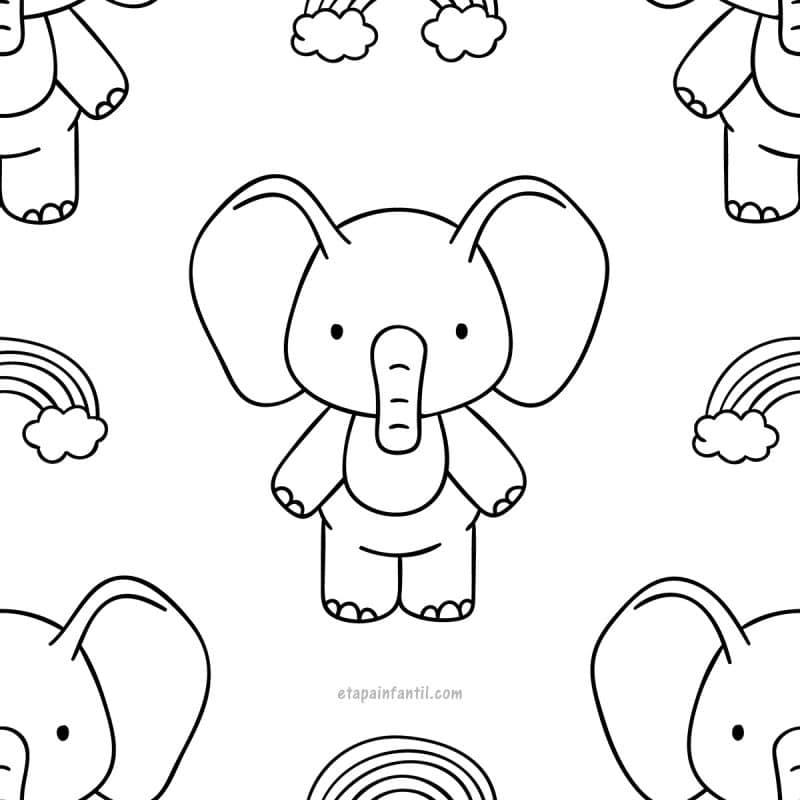 Dibujo kawaii de Elefantito para colorear