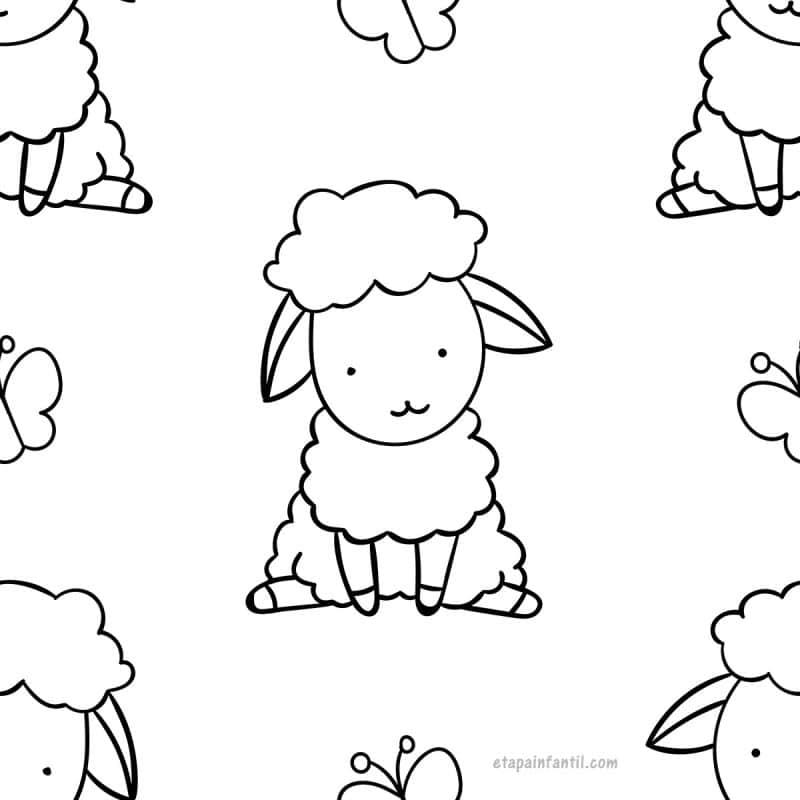 Dibujo kawaii fácil de Ovejita para colorear