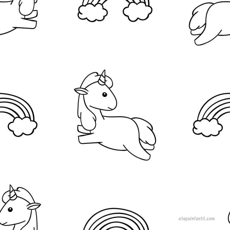 Dibujo kawaii fácil de Unicornio para colorear