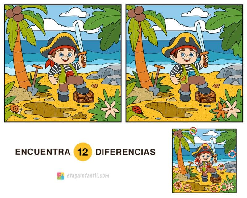Encuentra las 12 diferencias: Pequeño pirata con tesoro