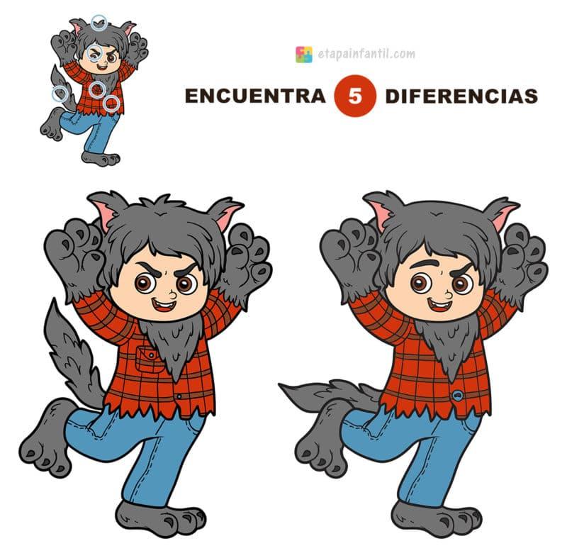 Encuentra las 5 diferencias: Pequeño hombre lobo