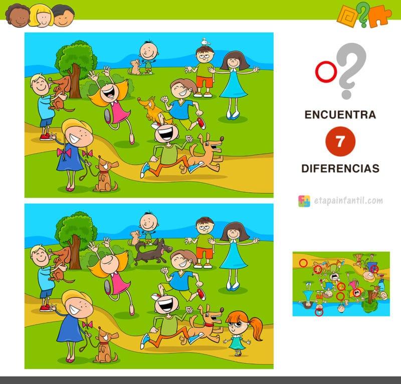 Encuentra las 7 diferencias: Niños jugando en el parque