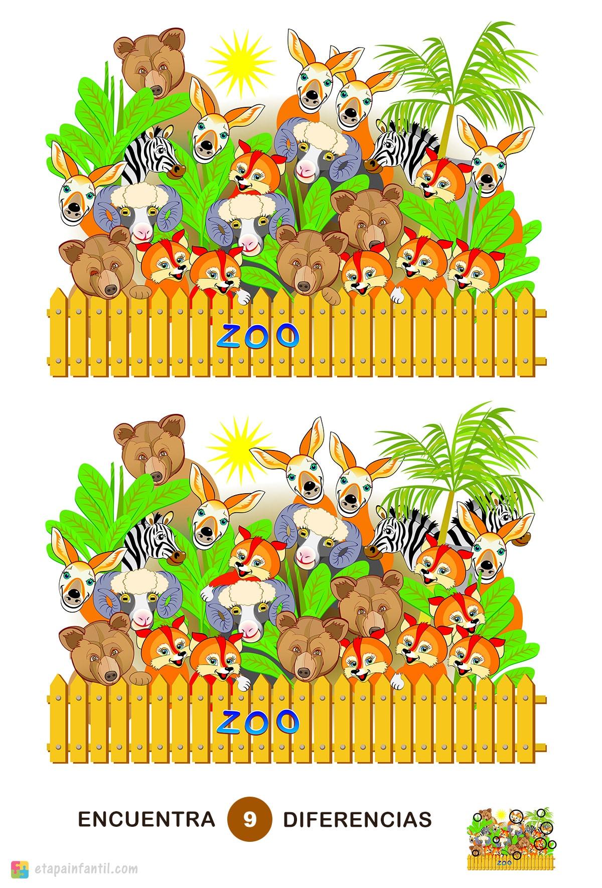 Encuentra las 9 diferencias: Animales del zoo