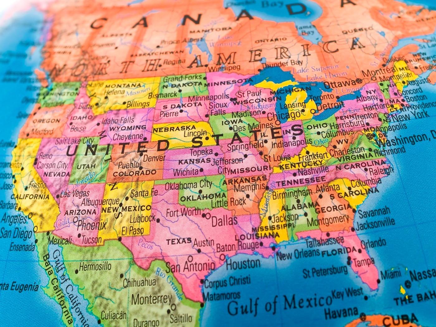 Mapas de Estados Unidos para los niños