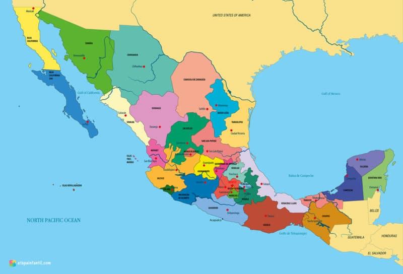 Mapa administrativo de México para imprimir