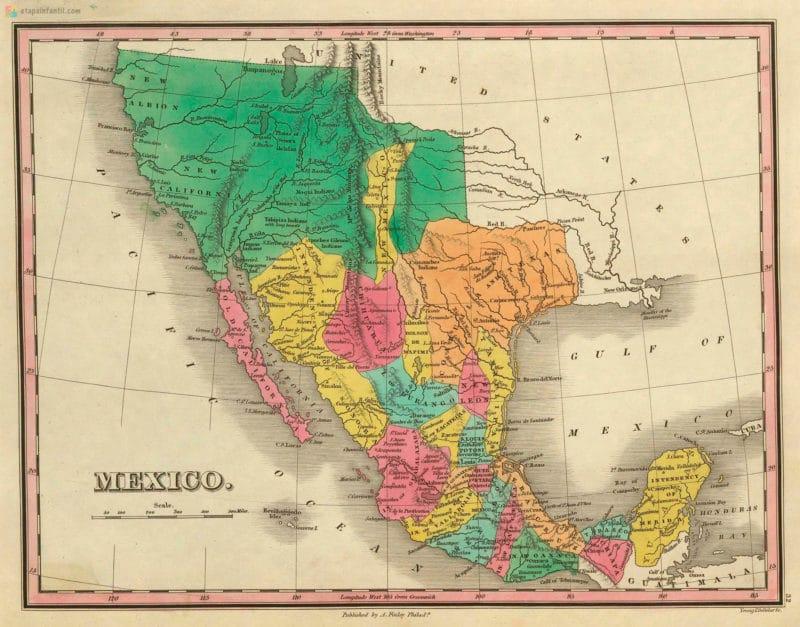 Mapa antiguo de México para imprimir