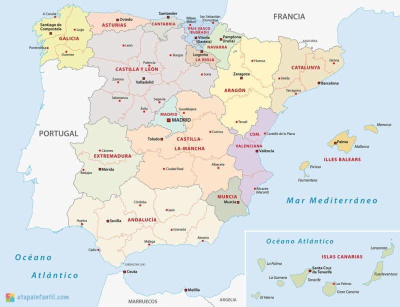 Mapa de las comunidades autónomas y provincias de España