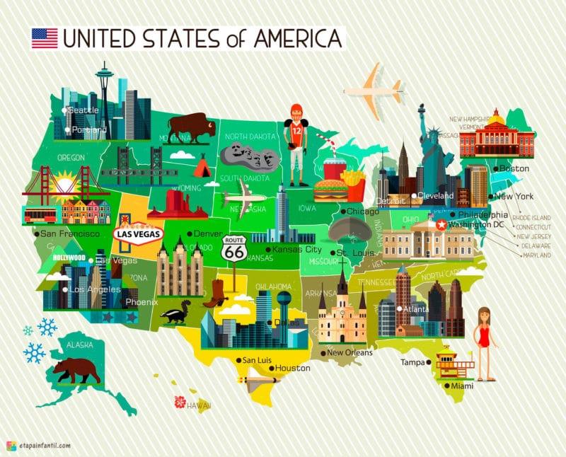 Mapa cultural de Estados Unidos para imprimir