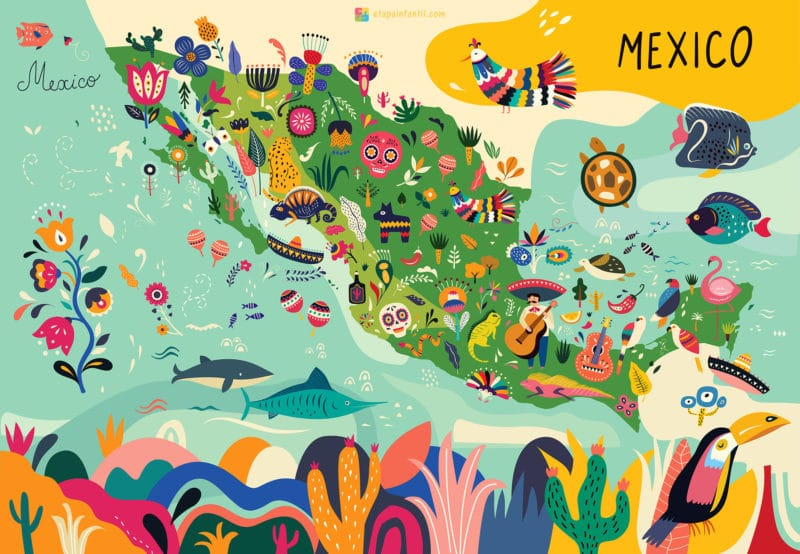 Mapa cultural de México para imprimir