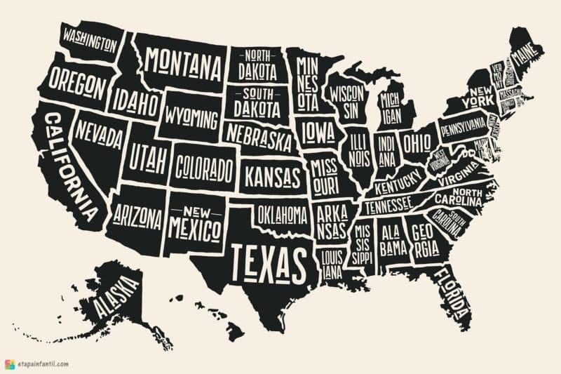 Mapa de estados de Estados Unidos para imprimir