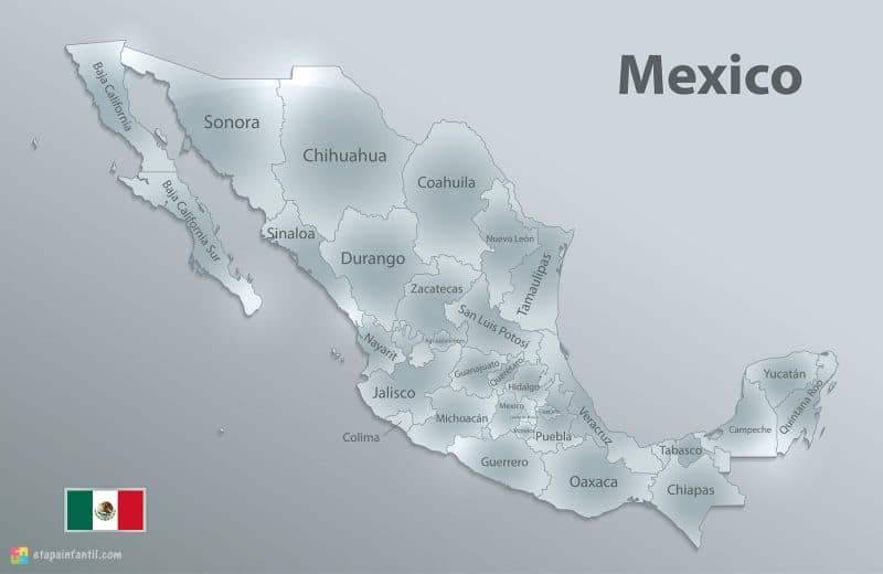 Mapa de estados de México para imprimir