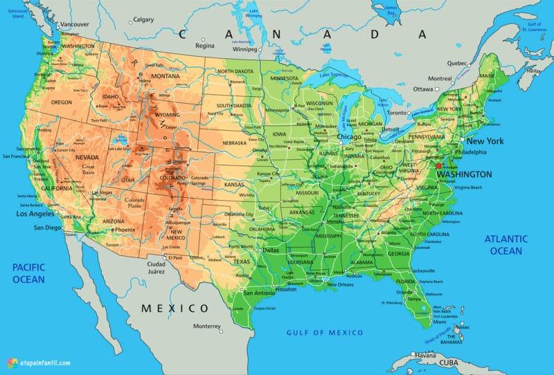 Mapa físico de Estados Unidos para imprimir
