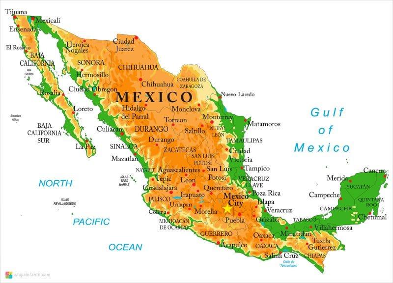 Mapa físico de México para imprimir