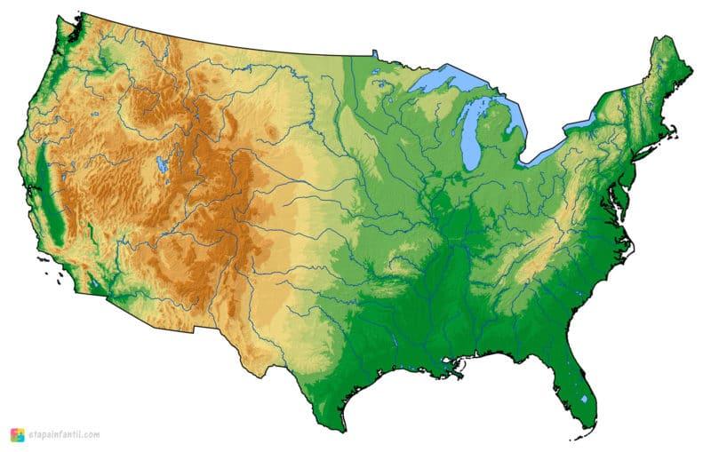 Mapa físico mudo de Estados Unidos para imprimir