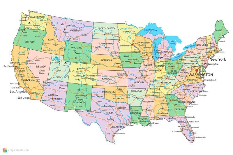 Mapa político de Estados Unidos con nombres para imprimir