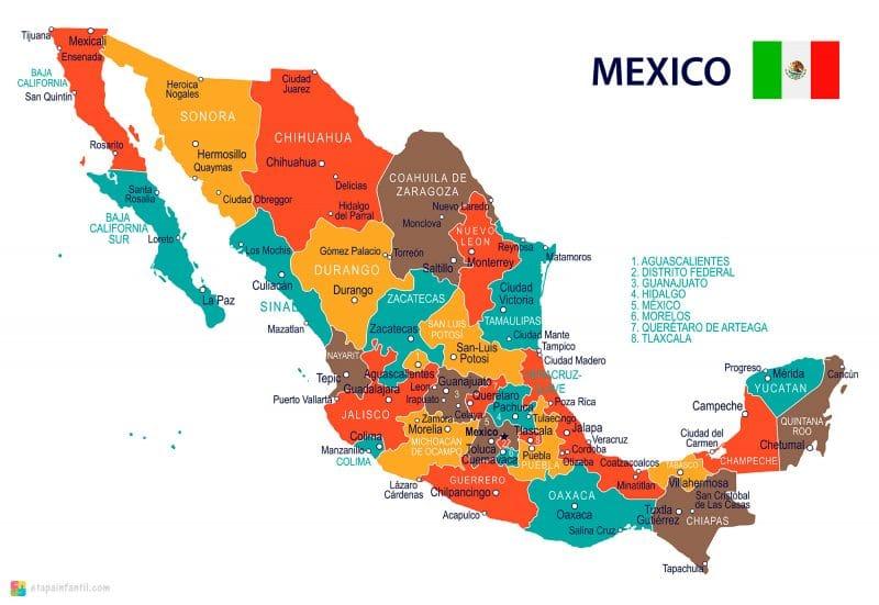 Mapa político de México con nombres para imprimir