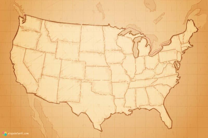 Mapa político mudo de Estados Unidos para imprimir