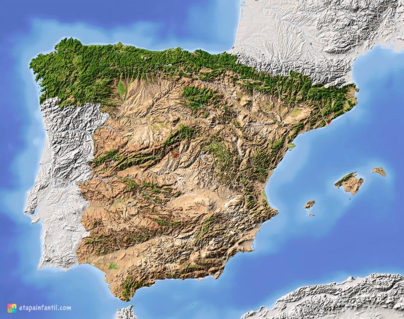 Mapa de relieve de España